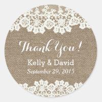 Classy Lace & Burlap Wedding Favor Stickers