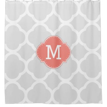 Classy Light Grey & White Quatrefoil with Monogram Shower Curtain