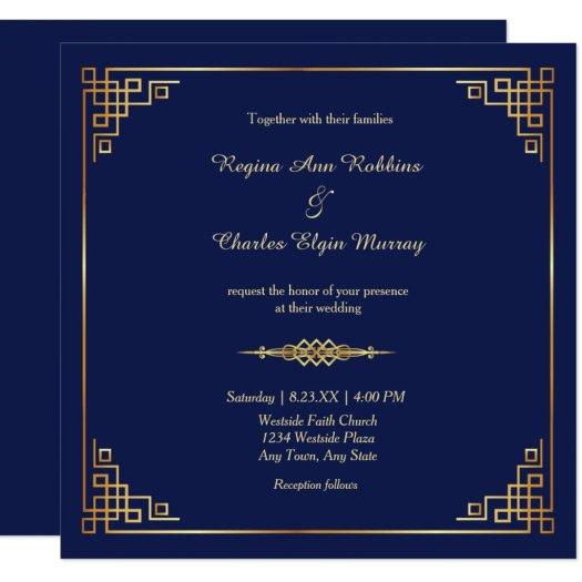 Classy Royal Blue Gold Frame Wedding Invitation