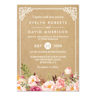Cly Rustic Fl Frame Kraft Formal Wedding Card