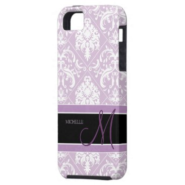 Classy Thistle Purple and white damask w/ monogram iPhone SE/5/5s Case