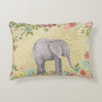 Classy Watercolor Elephant Floral Frame Gold Foil Accent Pillow