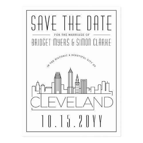 Cleveland Wedding   Stylized Skyline Save the Date Postcard
