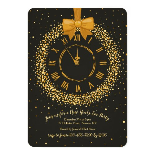 Clock Wreath New Year's Eve Party Invitations