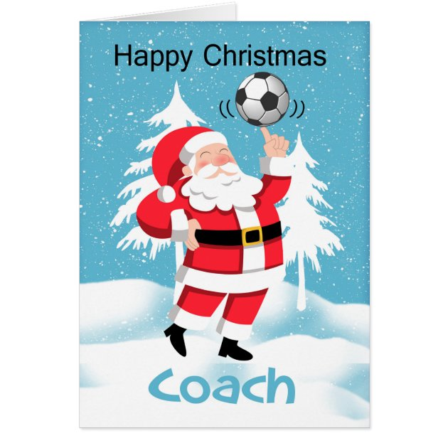 Coach Soccer Football Christmas Greeting Card