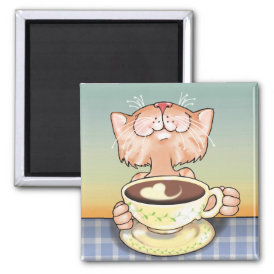 Coffee Loving Tabby Magnet