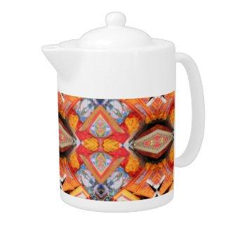 COFFEE POT with Orange geometric pattern. teapot