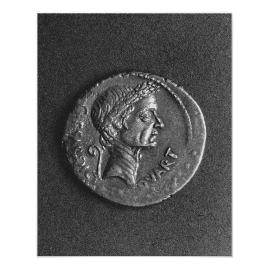 Coin with a portrait of Julius Caesar Poster
