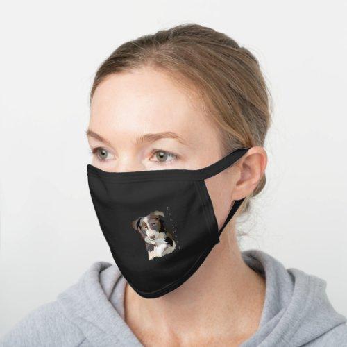 Collie dog black cotton face mask
