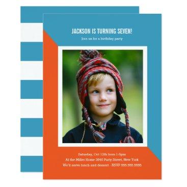 Color Block Photo Kids Birthday Invitation
