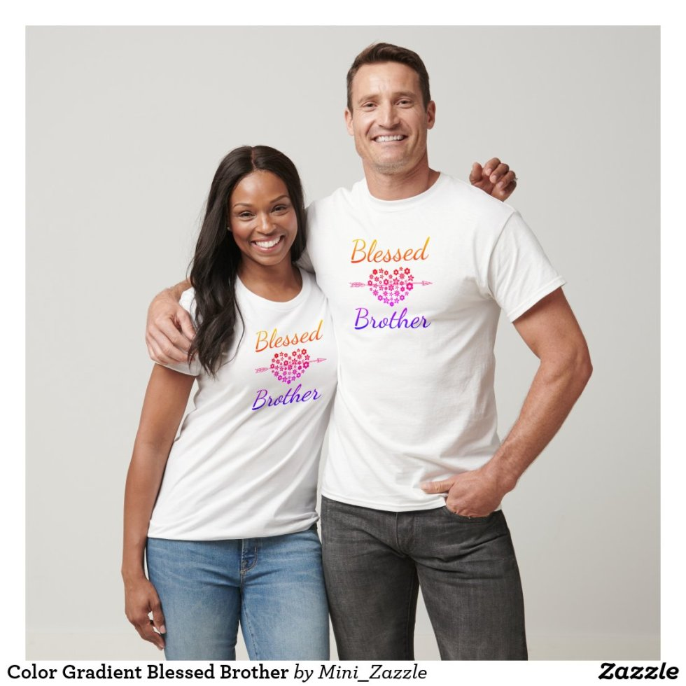 Color Gradient Blessed Brother BFF Shirts For 3