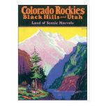 Colorado Rockies Vintage Travel Poster Artwork. Postcard