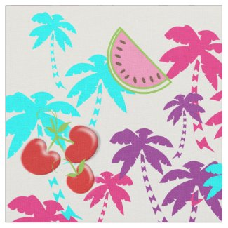 Colorful Bright Tropical Summer Holiday Fabric