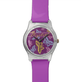 Colorful Butterfly Personalize Pattern Watch