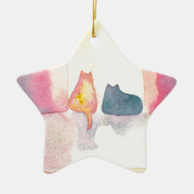 Colorful Cats on a Sunny Sofa Ceramic Ornament