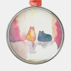 Colorful Cats on a Sunny Sofa Metal Ornament