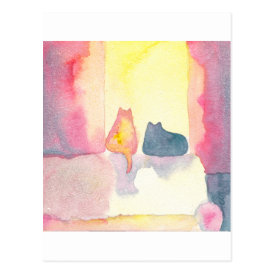 Colorful Cats on a Sunny Sofa Postcard