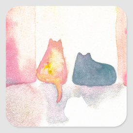 Colorful Cats on a Sunny Sofa Square Sticker