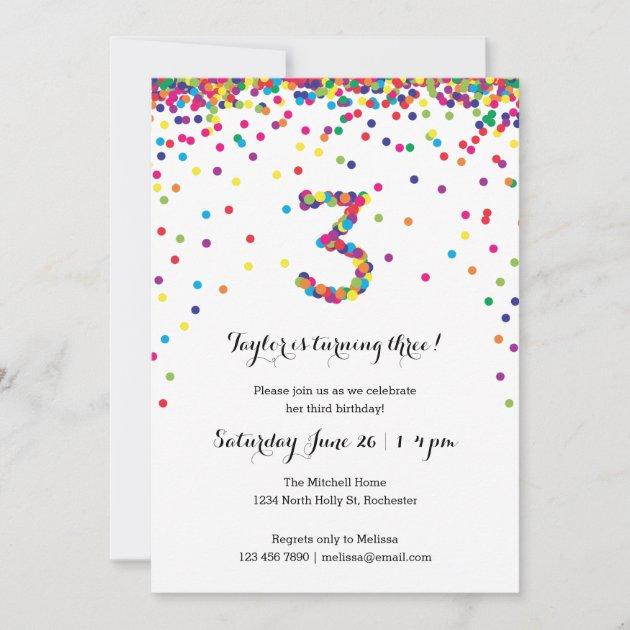 colorful confetti 3rd birthday party invitations zazzle com