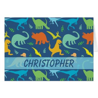 Colorful Dinosaur Pattern to Personalize Greeting Cards