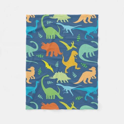 Colorful Dinosaurs Fleece Blanket