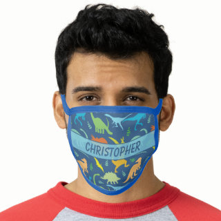 Colorful Dinosaurs Personalized Face Mask