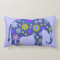 Colorful floral elephant throw pillow