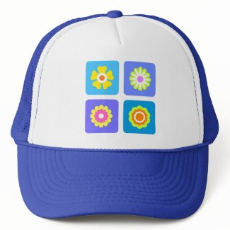 Colorful flowers trucker hats