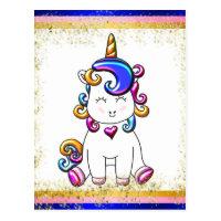 Colorful Glitter Blue Unicorn Birthday Postcard