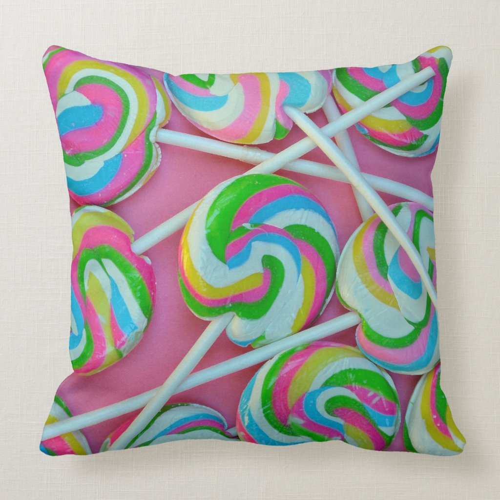 Colorful Lollipops Pattern Throw Pillow