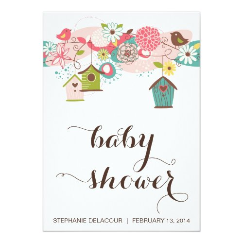 Colorful Love Birds and Bird Houses Baby Shower Invitation