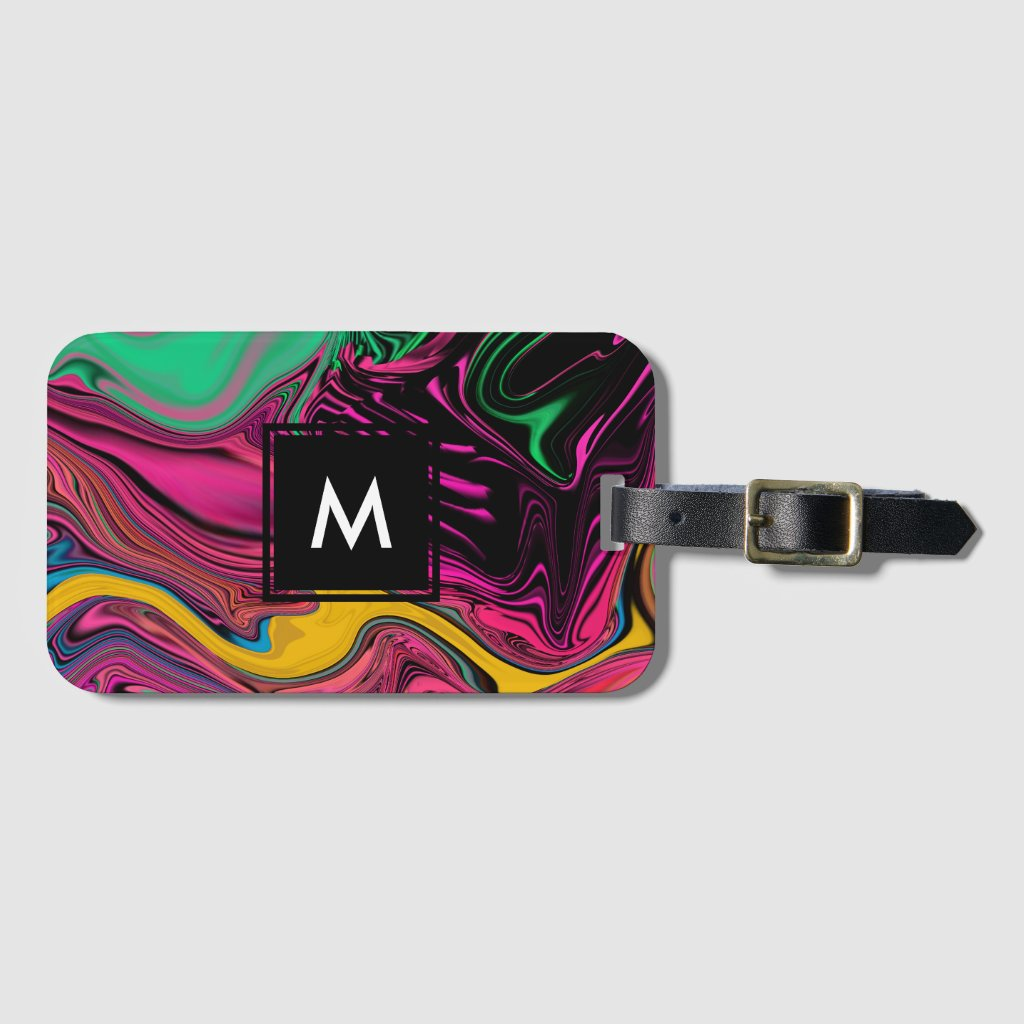 Colorful Luggage Tag with Your Monogram