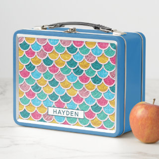 Colorful Mermaid Scales Monogram Metal Lunch Box
