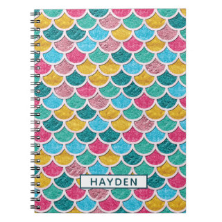 Colorful Mermaid Scales Monogram Notebook