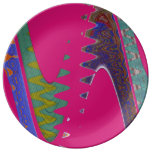 Colorful Mod pink abstract Porcelain Plate