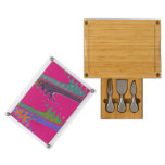 Colorful Mod pink abstract Rectangular Cheeseboard