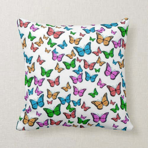 Colorful Monarch Butterflies Throw Pillow