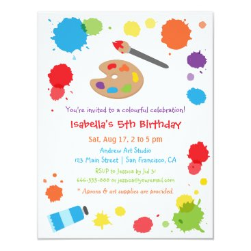 Colorful Paint Splats Painting Kids Birthday Party Card
