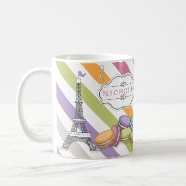 Colorful Paris Macarons Eiffel Tower Monogram Coffee Mug