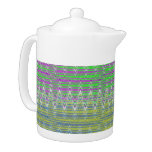 Colorful Pastel Zigzag Pattern Teapot