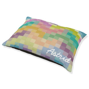 Colorful Patchwork Chevrons Personalized Large Dog Bed