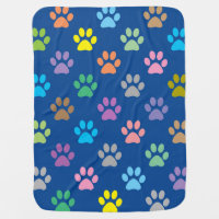 Colorful paw prints pattern stroller blanket