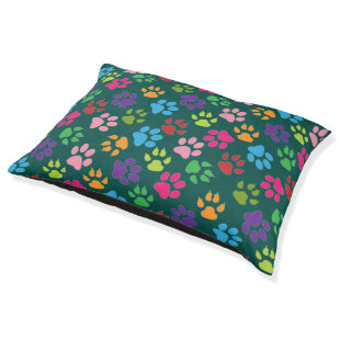 Colorful Pet Paws Pattern Design for your Pet Large Dog Bed