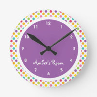 Colorful Polka Dot Kid's Bedroom Round Wallclocks