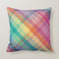 Colorful Rainbow Multicolor Plaid Stripes Throw Pillow