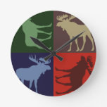 Colorful rustic moose four square design round wall clocks