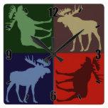 Colorful rustic moose four square design clock
