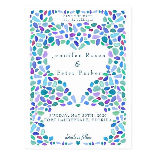 Colorful Sea Glass Mosaic Announcement Postcard