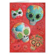 Colorful Sugar Skulls Greeting Card