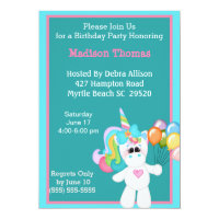 Colorful Unicorn Birthday Invitation